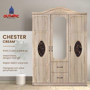 Lemari Olympic Asli Murah Seri Chester Cream