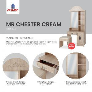 Meja Rias Olympic Asli Murah Seri Chester Cream